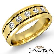 9mm Mens Half Wedding Band 5 Stone Round Diamond Ring 14k Yellow Gold 0.25Ct