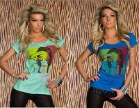 Maglietta T-shirt Maniche Corte Top Donna MINI LOVE B471 Turchese o Blu Tg S/M