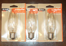 Pack of 3 Outdoor Lantern ES 55 Watts Decorative Clear Large Twisted Candle