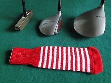 Knitted zebra style Fairway & Driver Golf Club head cover Red / White