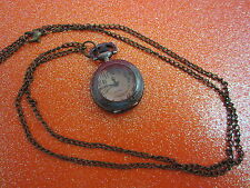 Amber Faceted Face Watch Necklace (Needs A Battery)