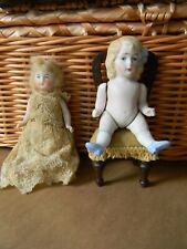 """2 Sweet Antique All Bisque Dolls Germany molded bow 4"""""""