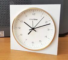Hometime Square Travel Alarm Clock Gold Rim Wall Hanging or Freestanding Clock