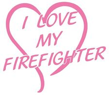 I Love My Firefighter Non-Reflective Large Pink Open Heart Decal Sticker