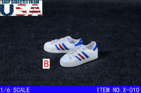 "1/6 Sneakers Shoes WHITE For 12"" Hot Toys TBLeague PHICEN Male Figure U.S.A."