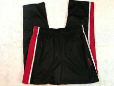 Reebok Men's Warmups Athletic Pants Black Red White Stripe Silky Medium