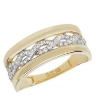 9ct 375 Yellow Gold Solid Ladies Cubic Zirconia Ring All Sizes Available NEW