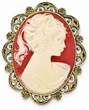 1928 Jewelry - Gold-tone Acrylic Cameo Brooch