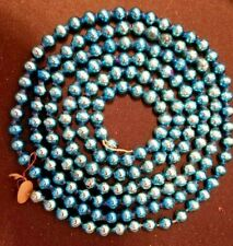 "Vintage Blue Mercury Glass Beads Christmas Tree Garland - 62"" Long 1/4"" Across"