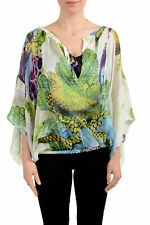 Just Cavalli Women's Multi-Color 100% Silk See Through Blouse Top US M IT 42