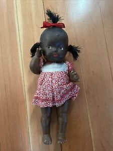 """11"""" ANTIQUE BLACK AMERICANA TOPSY COMPOSITION DOLL IN VINTAGE DRESS"""