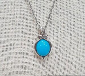 Designer Signed Sterling Silver Robins Egg Blue Turquoise Pendant Necklace 18in