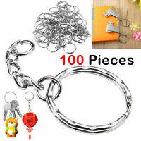 100X Stainless Steel Keyring Blanks Split Key Rings 25-50mm Silver Key Chain