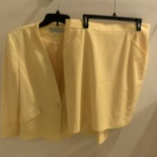 Tahari BY ASL Womens Yellow Plus Size 18 Suit With Skirt Single Button Jacket
