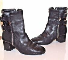 CHANEL Black Leather Ankle Boots Size 39 EUR