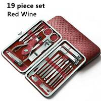 19Pcs Pedicure And Manicure Cleaner Nail Clippers Stainless Steel Beauty Red B4