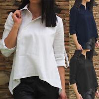 ZANZEA Women Buttons Down Asymmetrical Hem Shirt Tops Lapel Loose Plain Blouse