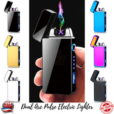 Dual Arc Pulse Electric Lighter USB Rechargeable Plasma Flameless Windproof Gift