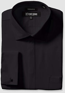 $115 Stacy Adams 14.5 32/33 Men Regular-Fit Black French-Cuff Button Dress Shirt