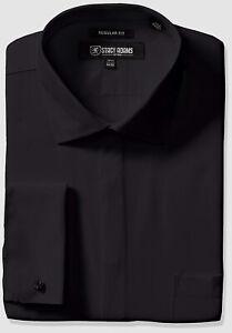$115 Stacy Adams 14.5 32/33 Men Regular-Fit Black French-Cuff Button Dress Shirt
