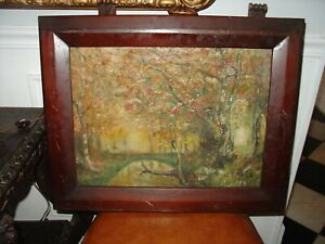 Antique American Impressionist Autumn Landscape Oil Painting Textured FRAMED