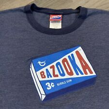 Bazooka Gum T Shirt Boys Large Youth Blue Ringer Snack Candy Food Retro USA