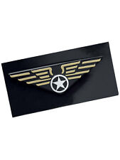 Pilot Wings Pin Badge Aviation Captain 1980s 80s Fancy Dress Accessory New