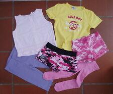 Bekleidungspaket Girls Gr 116 122 128 T-Shirt Shorts Leggings rosa lila gelb H&M