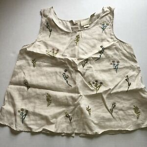 Cynthia Rowley Linen Button Back Floral Embroidered Sleeveless Top Sz L A1537