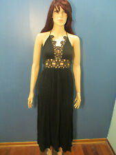 XL black sexy LACE bust design unique lined HALTER dress by SHINESTAR