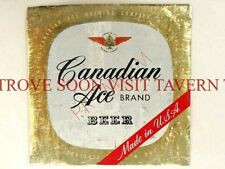 1950s Chicago Canadian Ace Quart Metallic Beer Label Tavern Trove