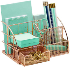 Rose Gold Desk Organizer, Cute Office Supplies Accessories All-in-One Desktop Ca