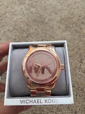 BRAND NEW MICHAEL KORS Runway Rose Gold Stainless Pave Crystal Watch MK5661