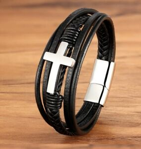Cross Style Multi Layer Design Stainless Steel Fashion Men's Leather Bracelet Cl