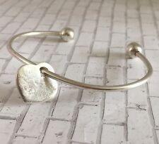 Sterling Silver Heart Bangle Cuff Bracelet 925 Heart Charm Personalize