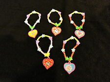 5 colourful heart bracelets party bag fillers toys girl