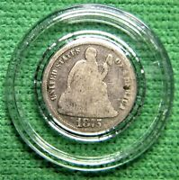 1875 Seated Liberty Dime. 10 cents, 90% silver, encapsulated.