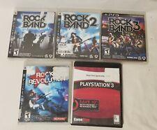 Lot Of 5 PS3 Rock Band 1, 2, 3, Band Hero, Rock Revolution Games