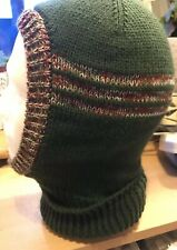 Men's Knitted Balaclava In Woodland Green + Camouflage Stripes Soft D.K Handmade