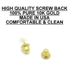 Stud Earrings, **100% 10K Yellow Gold** CZ, 9mm **PAIR* Stamped Authentic