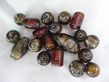 19 Beads Glass 8-20mm Long Round Oval Tube Beads Purple Gold #A574 DNG