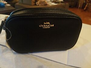 COACH Polished Pebble Dressy Belt Bag (Black/Gold) NWT $195