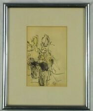 Vintage Gouache Watercolor Abstract Still Life w/Flowers by Arnold Belkin Listed