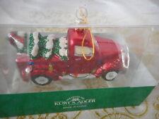 Kurt Adler Noble Gems Red Truck Christmas Tree & Lights Glass Ornament