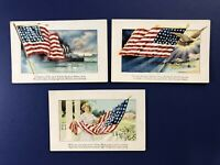 3 Nice Unposted Patriotic Antique Postcards 1900s. For Collectors. Embossed.
