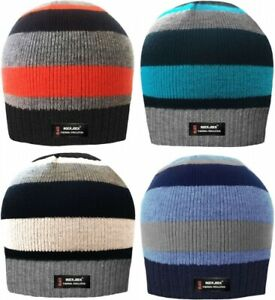 Boys Thermal Fleece Lined R40 Stripe Beanie Hat. Winter One Size Age 5-10 years
