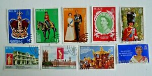 BELIZE ROYALS AND QUEEN MOTHER SCOTT 430-7 COMPLETE SET AND 523 USED CAT $ 32.50