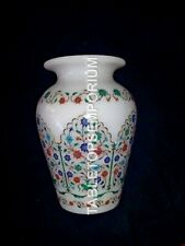 "9"" Marble White Flower Pot Multi Inlay Floral Marquetry Gift Decorative E1113"