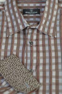 Bugatchi Uomo Men's Gray Brown Check Woven Cotton Casual Shirt XL XLarge