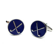 Round Enamelled Blue Crossed Golf Clubs Design Cufflinks & Gift Pouch